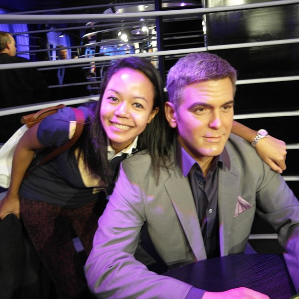 Abang George Clooney why you no look at the camera? Lol - Madam Tussauds Berlin