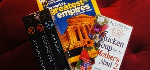 books bought at big bad wolf hunger games, chicken soup for the soul, national geographics